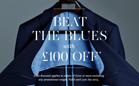 Beat the blues with £100 off any suit when you spend £700 or more