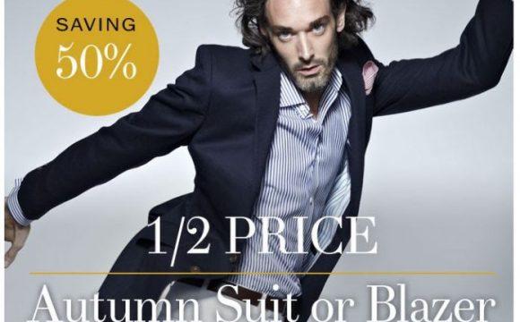 Half price Autumn suit or blazer offer – saving 50%